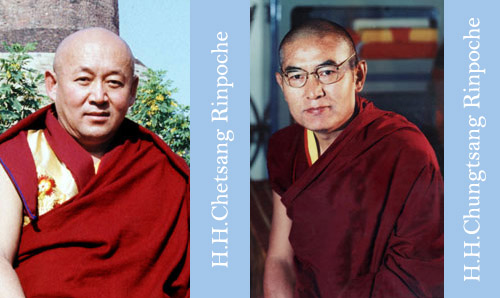 Photograph of His Hollinesses Drigung Kyabgon Chetsang and Chungtsang Rinpoche