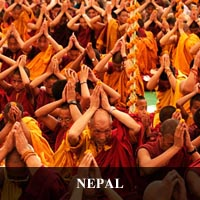 photo of monks receiving an empowerment at the Drigung Kagyu monlam held in Lumbini Nepal during Monkey Year