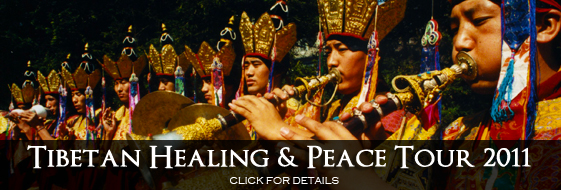 advertisement of upcoming 2011 Tibetan Culture and Peace Tour.  Image of Deity dance.