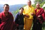 Left to Right: Shedra Khenpo, Genyen Jamyangling, Loga Rinpoche, and the head monk of Rabgye Ling monastery