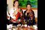 His Eminence Lhochen Rinpoche's sister, Daga Dolma and her daughter making a toast.