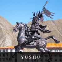 photo of Ling Gesar Statue in Yushu, Tibetan Mythological Hero